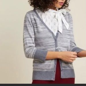 ModCloth Fervour Gray/Cream Cardigan Sz L